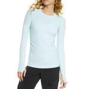 Zella Blue Seamless Perforated Long Sleeve Top